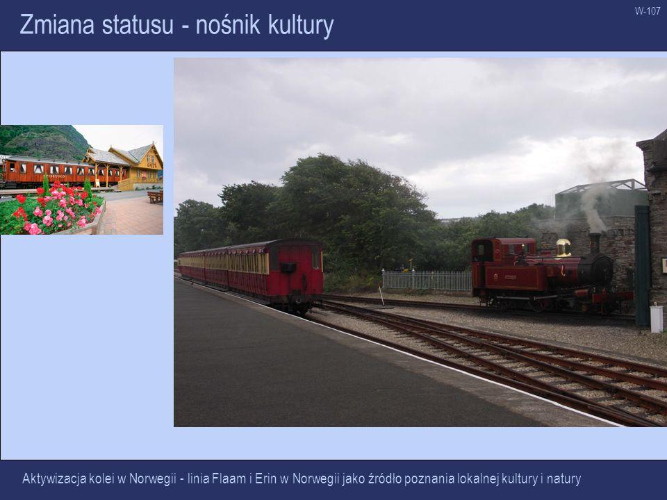 W-107 Zmiana statusu - nośnik kultury Aktywizacja kolei w Norwegii - linia Flaam i Erin w Norwegii jako źródło poznania lokalnej kultury i natury