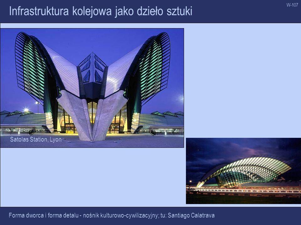 W-107 Infrastruktura kolejowa jako dzieło sztuki Forma dworca i forma detalu - nośnik kulturowo-cywilizacyjny; tu: Santiago Calatrava Satolas Station,
