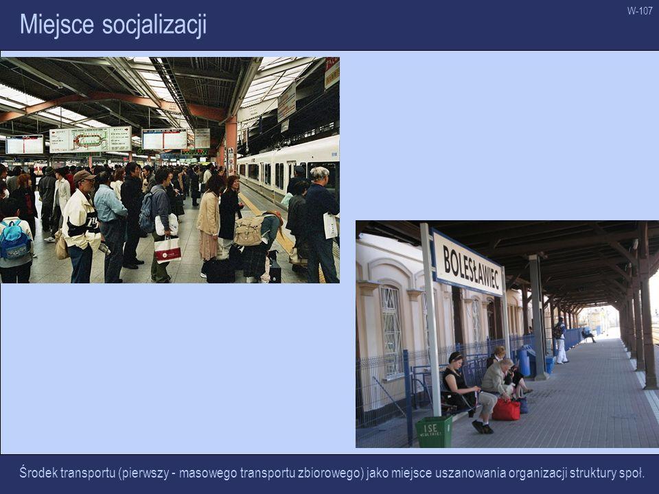W-107 Miejsce socjalizacji Środek transportu (pierwszy - masowego transportu zbiorowego) jako miejsce uszanowania organizacji struktury społ.
