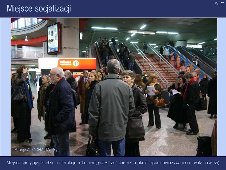 W-107 Miejsce socjalizacji Miejsce sprzyjające ludzkim interakcjom (komfort, przestrzeń podróżna jako miejsce nawiązywania i utrwalania więzi) Stacja