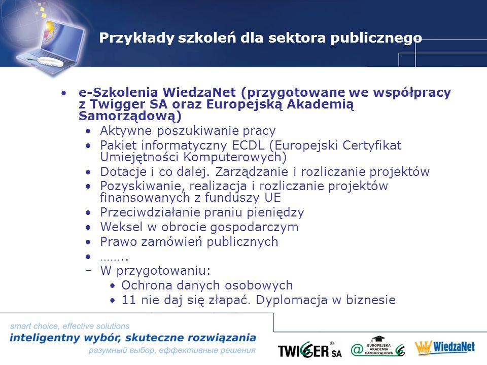 Przykłady szkoleń dla sektora publicznego e-Szkolenia WiedzaNet (przygotowane we współpracy z Twigger SA oraz Europejską Akademią Samorządową) Aktywne poszukiwanie pracy Pakiet informatyczny ECDL (Europejski Certyfikat Umiejętności Komputerowych) Dotacje i co dalej.