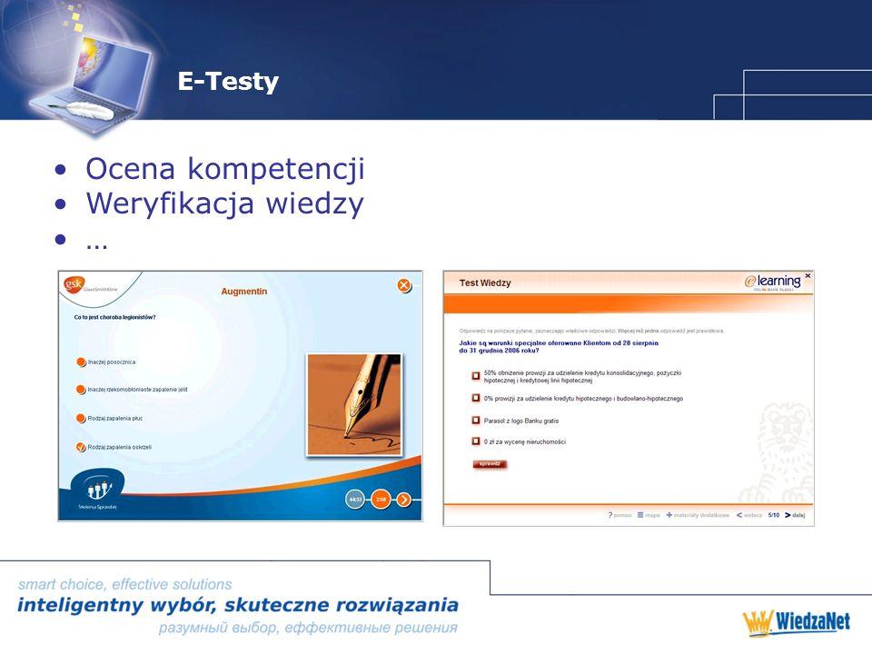 E-Testy Ocena kompetencji Weryfikacja wiedzy …