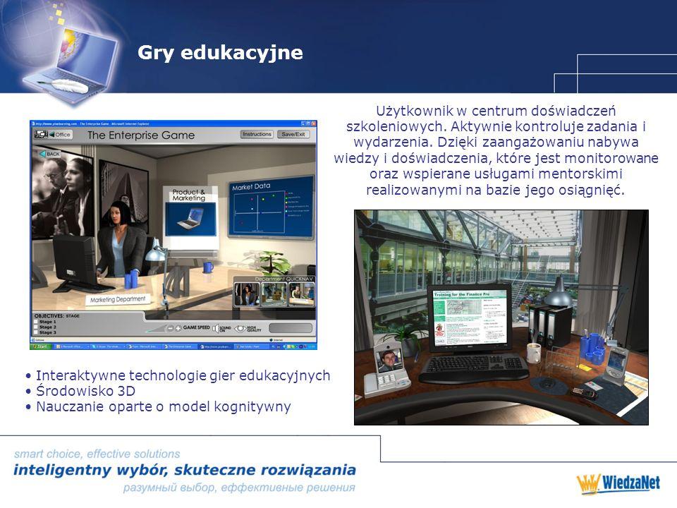 Gry edukacyjne Interaktywne technologie gier edukacyjnych Środowisko 3D Nauczanie oparte o model kognitywny Użytkownik w centrum doświadczeń szkoleniowych.
