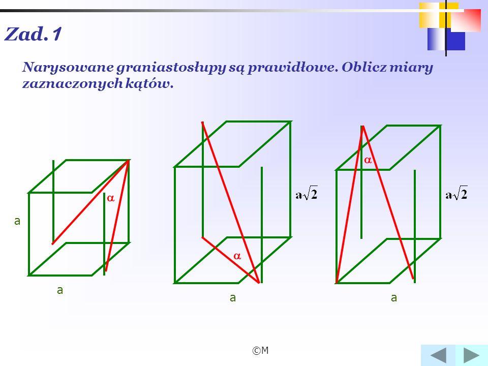 ©M Zad. 1 Narysowane graniastosłupy są prawidłowe. Oblicz miary zaznaczonych kątów. a a aa