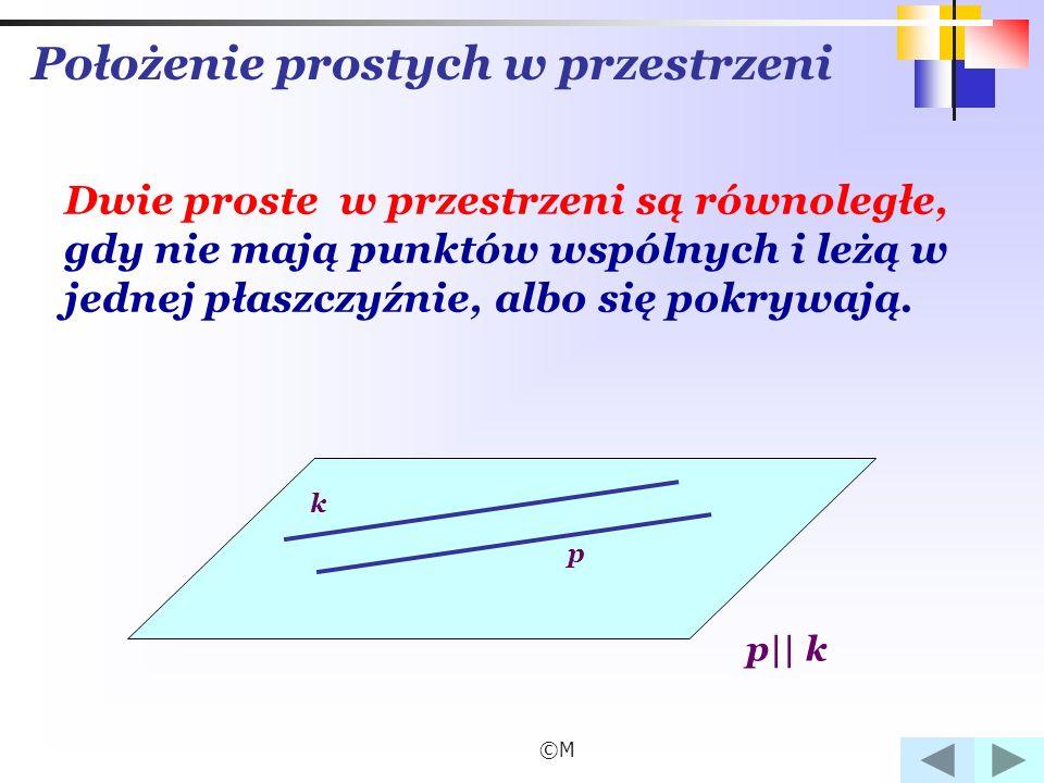©M Położenie prostych w przestrzeni Dwie proste w przestrzeni są równoległe, gdy nie mają punktów wspólnych i leżą w jednej płaszczyźnie, albo się pokrywają.