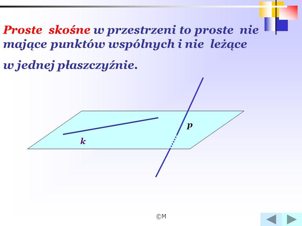 ©M Dwie proste w przestrzeni są prostopadłe, gdy istnieje prosta równoległa do jednej z nich przecinająca drugą pod kątem prostym.