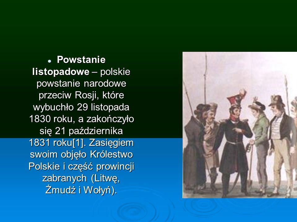 Przeciw Powstaniu Listopadowemu Powstanie listopadowe – polskie powstanie narodowe przeciw Rosji, które wybuchło 29 listopada 1830 roku, a zakończyło się 21 października 1831 roku[1].