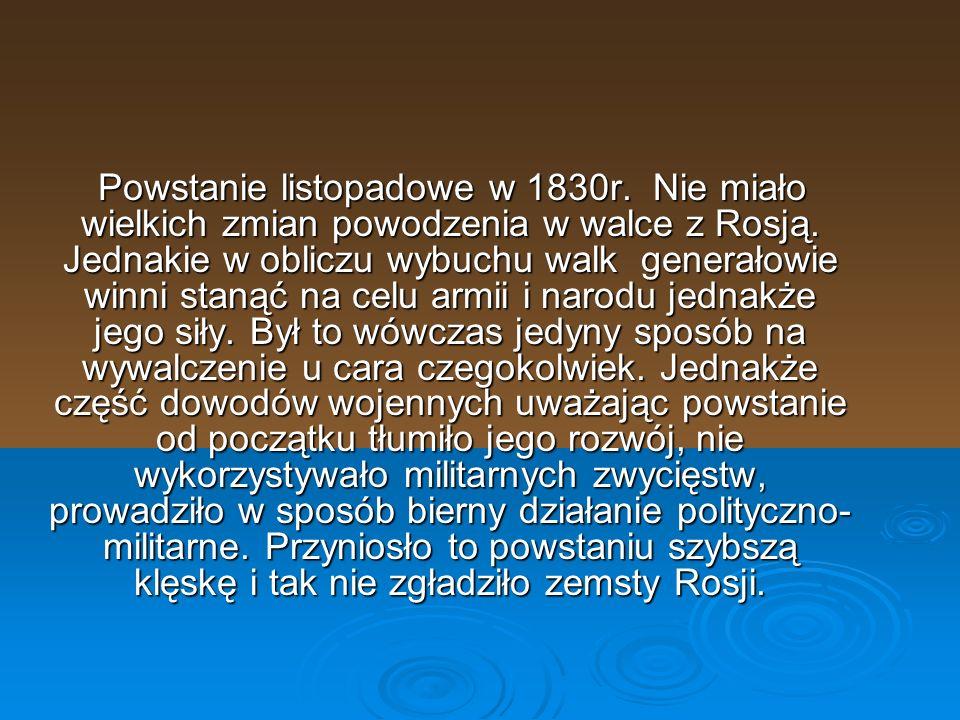 Powstanie listopadowe – polskie powstanie narodowe przeciw Rosji, które wybuchło 29 listopada 1830 roku, a zakończyło się 21 października 1831 roku[1].