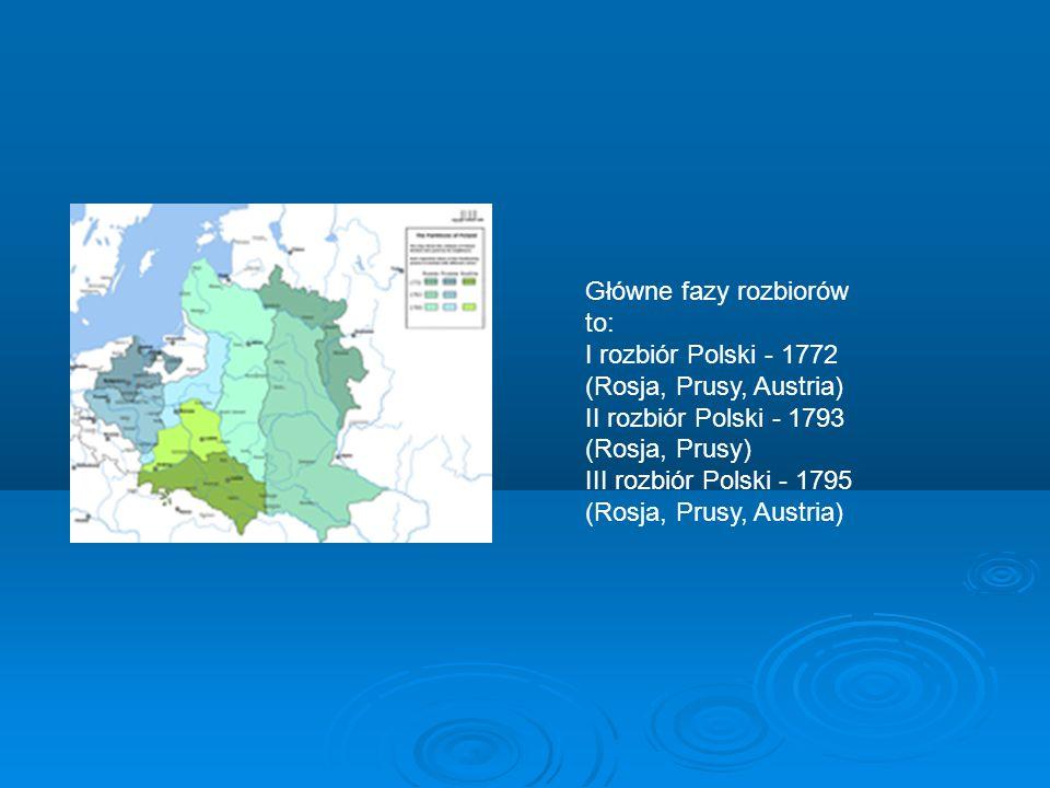 Rozbiory Polski Rozbiory Polski - okres w dziejach Polski od 1772 do 1795 roku, w czasie którego terytorium Rzeczypospolitej Obojga Narodów było stopniowo rozdzielane (na podstawie dyplomatycznych ustaleń, a bez wchodzenia w stan wojny z Polską) pomiędzy trzy lub dwa zaborcze państwa ościenne: Austrię, Królestwo Pruskie i Rosję, W 1807 roku Polska uzyskała namiastkę niepodległości w formie utworzonego Księstwa Warszawskiego, w roku 1815 przekształcono je w całkowicie niesuwerenne Królestwo Polskie, formalnie związane unią personalną z Rosją.