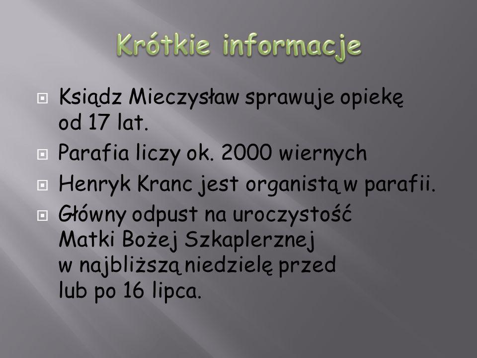 Ksiądz Mieczysław sprawuje opiekę od 17 lat. Parafia liczy ok. 2000 wiernych Henryk Kranc jest organistą w parafii. Główny odpust na uroczystość Matki