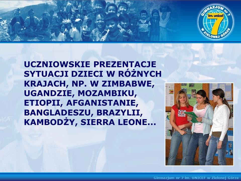 UCZNIOWSKIE PREZENTACJE SYTUACJI DZIECI W RÓŻNYCH KRAJACH, NP. W ZIMBABWE, UGANDZIE, MOZAMBIKU, ETIOPII, AFGANISTANIE, BANGLADESZU, BRAZYLII, KAMBODŻY