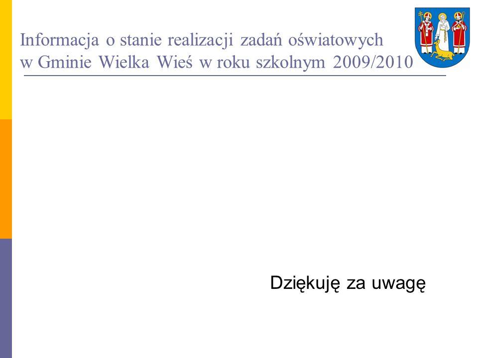 Informacja o stanie realizacji zadań oświatowych w Gminie Wielka Wieś w roku szkolnym 2009/2010 Dziękuję za uwagę