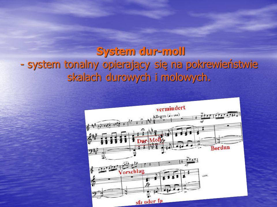 System dur-moll - system tonalny opierający się na pokrewieństwie skalach durowych i molowych. System dur-moll - system tonalny opierający się na pokr