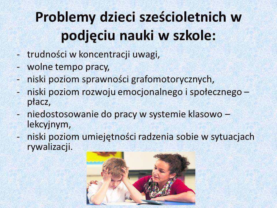 Problemy dzieci sześcioletnich w podjęciu nauki w szkole: -trudności w koncentracji uwagi, -wolne tempo pracy, -niski poziom sprawności grafomotorycznych, -niski poziom rozwoju emocjonalnego i społecznego – płacz, -niedostosowanie do pracy w systemie klasowo – lekcyjnym, -niski poziom umiejętności radzenia sobie w sytuacjach rywalizacji.