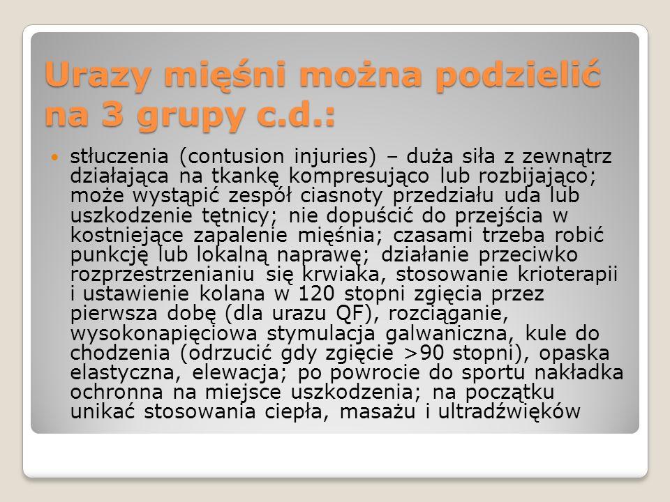 Urazy mięśni można podzielić na 3 grupy c.d.: stłuczenia (contusion injuries) – duża siła z zewnątrz działająca na tkankę kompresująco lub rozbijająco