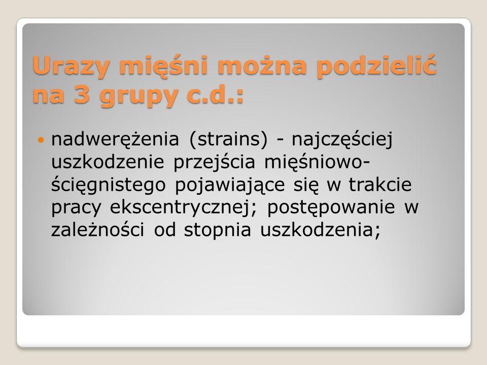 Urazy mięśni można podzielić na 3 grupy c.d.: nadwerężenia (strains) - najczęściej uszkodzenie przejścia mięśniowo- ścięgnistego pojawiające się w tra