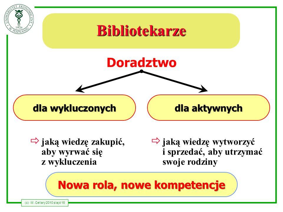 (c) W. Cellary 2010 slajd 16 Bibliotekarze dla wykluczonych dla aktywnych Doradztwo jaką wiedzę zakupić, aby wyrwać się z wykluczenia jaką wiedzę wytw