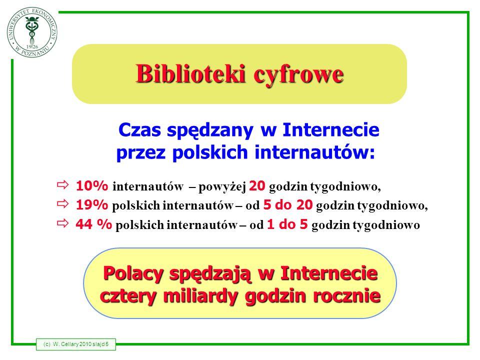 (c) W. Cellary 2010 slajd 5 Biblioteki cyfrowe 10% internautów – powyżej 20 godzin tygodniowo, 19% polskich internautów – od 5 do 20 godzin tygodniowo