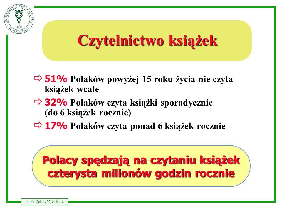 (c) W. Cellary 2010 slajd 6 Czytelnictwo książek 51% Polaków powyżej 15 roku życia nie czyta książek wcale 32% Polaków czyta książki sporadycznie (do
