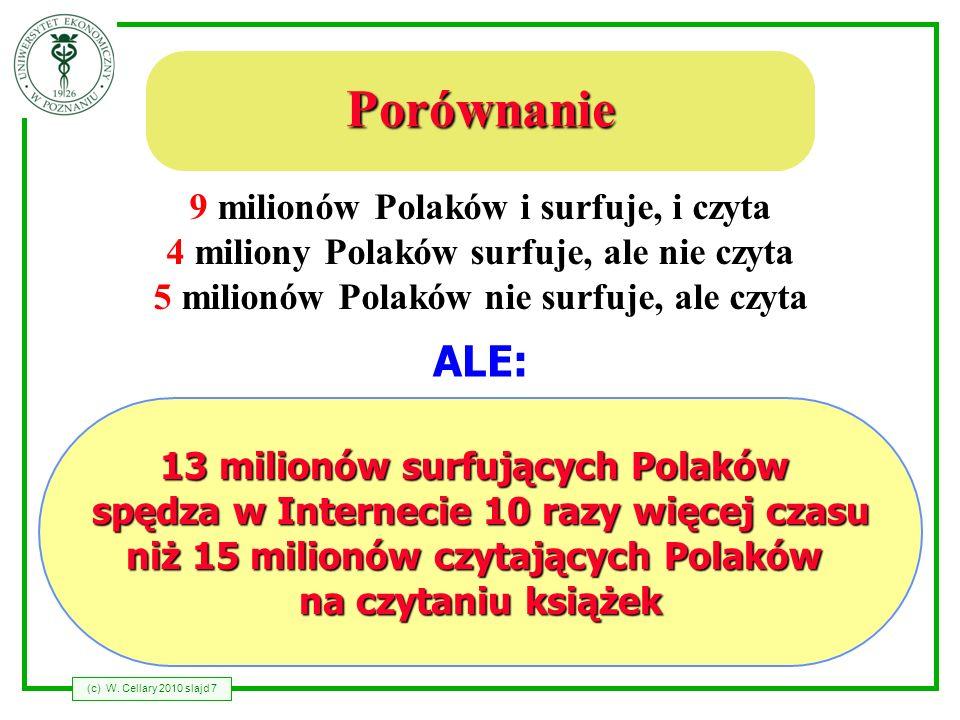 (c) W. Cellary 2010 slajd 7 Porównanie 13 milionów surfujących Polaków spędza w Internecie 10 razy więcej czasu niż 15 milionów czytających Polaków na