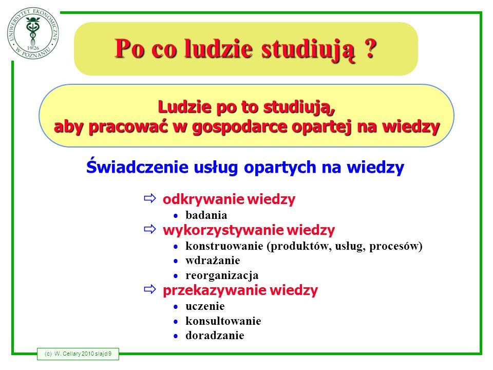 (c) W. Cellary 2010 slajd 9 Po co ludzie studiują ? Ludzie po to studiują, aby pracować w gospodarce opartej na wiedzy Świadczenie usług opartych na w