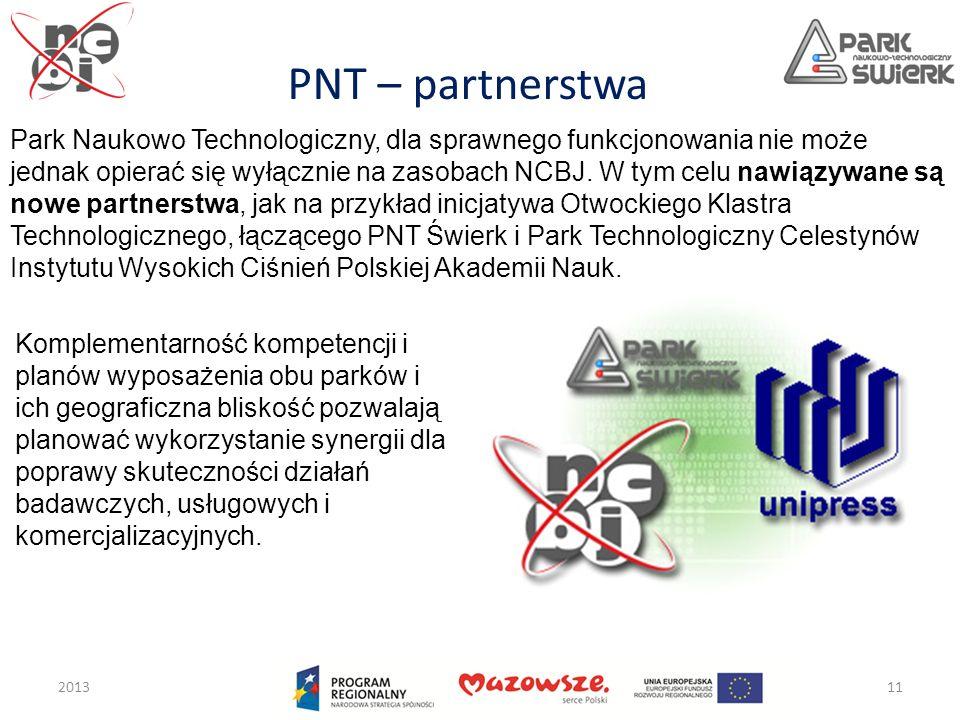PNT – partnerstwa 201311 Park Naukowo Technologiczny, dla sprawnego funkcjonowania nie może jednak opierać się wyłącznie na zasobach NCBJ. W tym celu