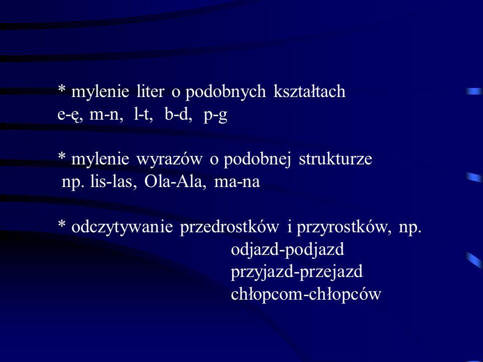 * mylenie liter o podobnych kształtach e-ę, m-n, l-t, b-d, p-g * mylenie wyrazów o podobnej strukturze np. lis-las, Ola-Ala, ma-na * odczytywanie prze