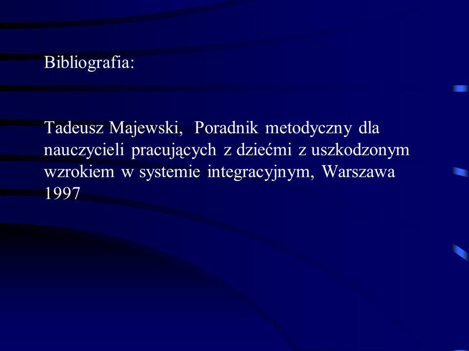 Bibliografia: Tadeusz Majewski, Poradnik metodyczny dla nauczycieli pracujących z dziećmi z uszkodzonym wzrokiem w systemie integracyjnym, Warszawa 19