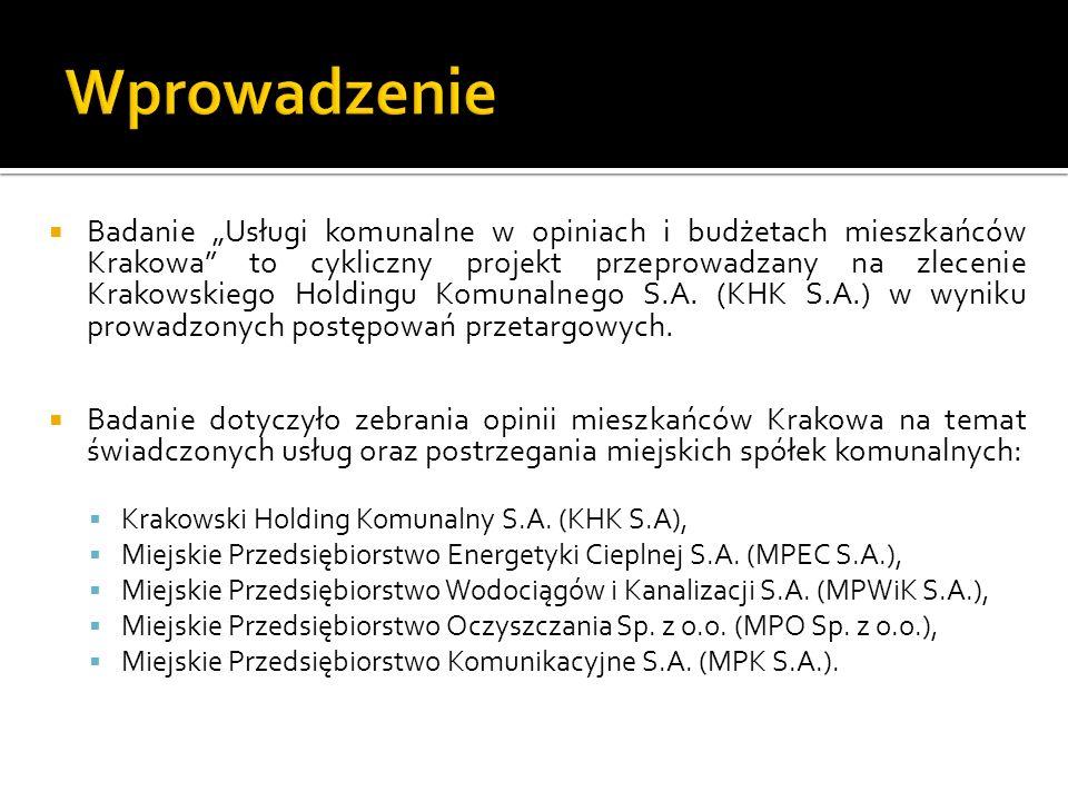 Badanie Usługi komunalne w opiniach i budżetach mieszkańców Krakowa to cykliczny projekt przeprowadzany na zlecenie Krakowskiego Holdingu Komunalnego S.A.