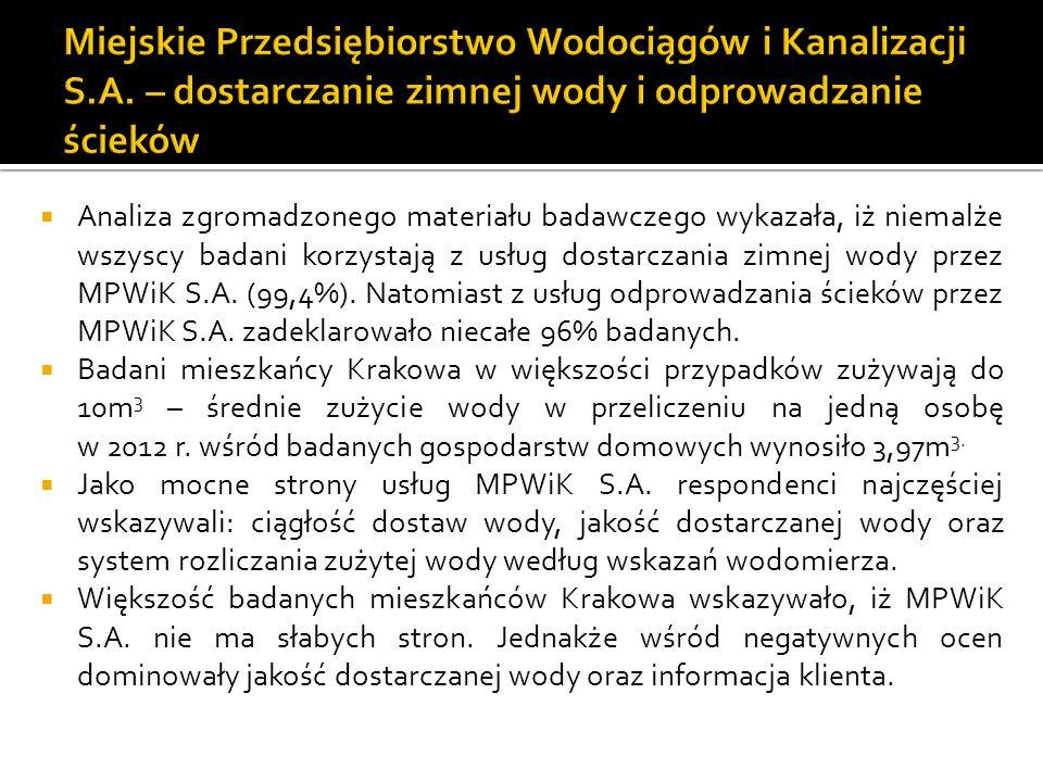 Analiza zgromadzonego materiału badawczego wykazała, iż niemalże wszyscy badani korzystają z usług dostarczania zimnej wody przez MPWiK S.A.