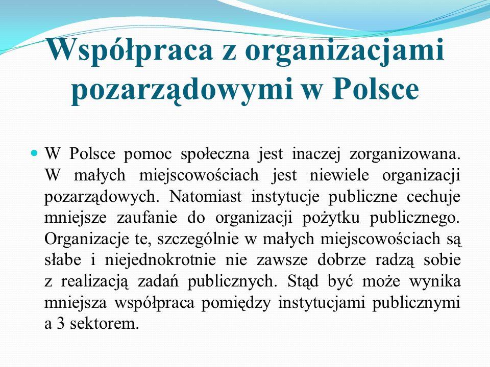 Współpraca z organizacjami pozarządowymi w Polsce W Polsce pomoc społeczna jest inaczej zorganizowana. W małych miejscowościach jest niewiele organiza