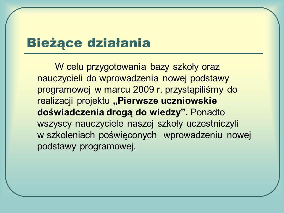 Bieżące działania W celu przygotowania bazy szkoły oraz nauczycieli do wprowadzenia nowej podstawy programowej w marcu 2009 r.