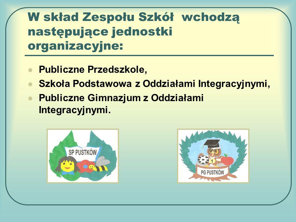 W skład Zespołu Szkół wchodzą następujące jednostki organizacyjne: Publiczne Przedszkole, Szkoła Podstawowa z Oddziałami Integracyjnymi, Publiczne Gimnazjum z Oddziałami Integracyjnymi.