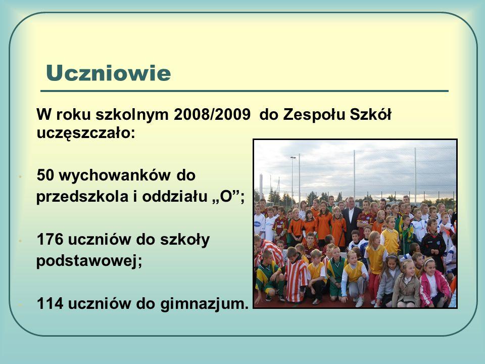 Uczniowie W roku szkolnym 2008/2009 do Zespołu Szkół uczęszczało: 50 wychowanków do przedszkola i oddziału O; 176 uczniów do szkoły podstawowej; 114 uczniów do gimnazjum.
