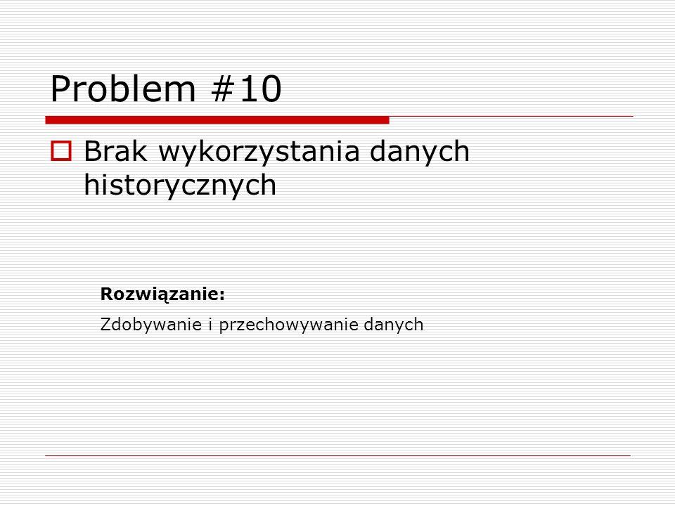 Problem #10 Brak wykorzystania danych historycznych Rozwiązanie: Zdobywanie i przechowywanie danych
