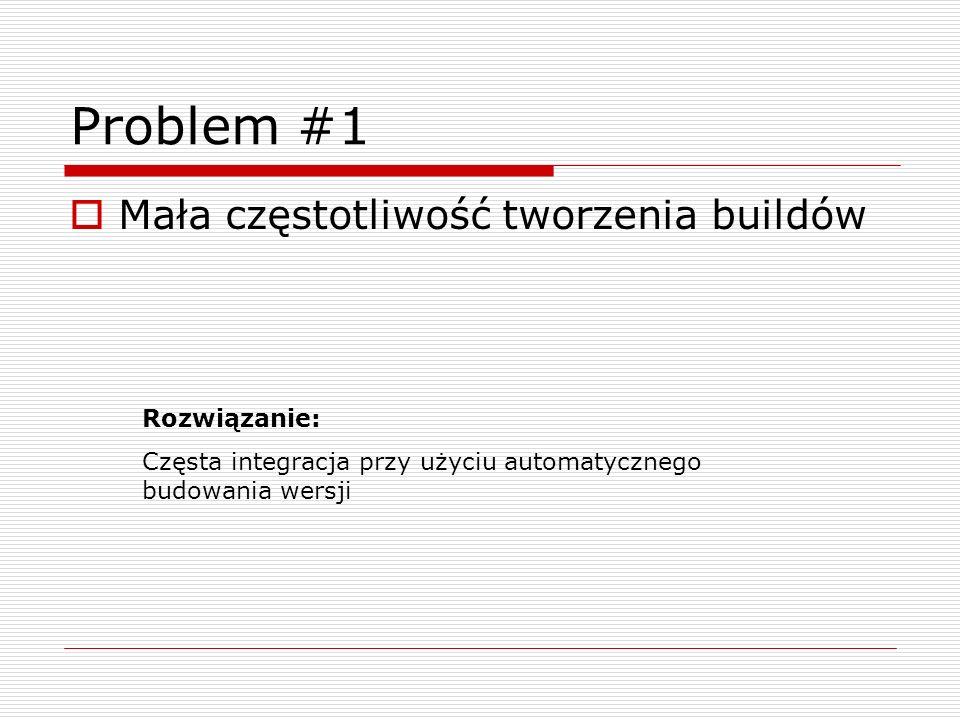 Problem #1 Mała częstotliwość tworzenia buildów Rozwiązanie: Częsta integracja przy użyciu automatycznego budowania wersji