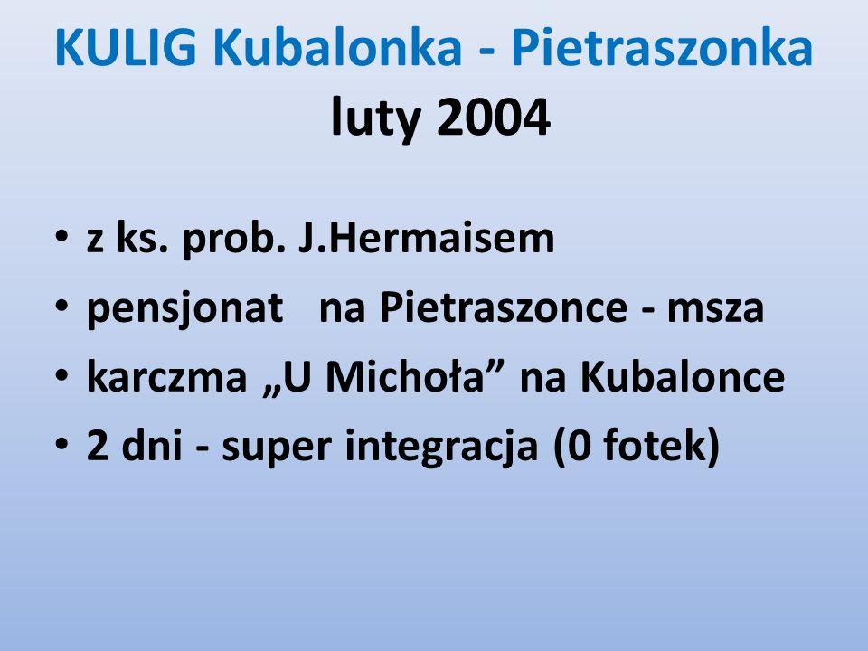 KULIG Kubalonka - Pietraszonka luty 2004 z ks. prob. J.Hermaisem pensjonat na Pietraszonce - msza karczma U Michoła na Kubalonce 2 dni - super integra