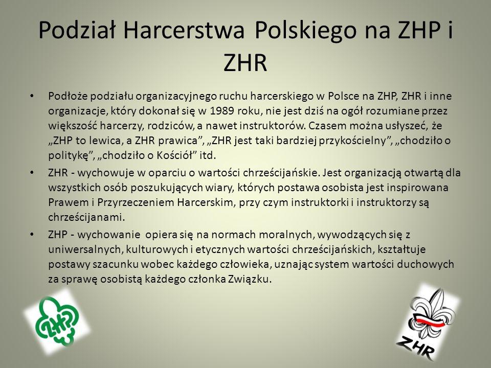 Podział Harcerstwa Polskiego na ZHP i ZHR Podłoże podziału organizacyjnego ruchu harcerskiego w Polsce na ZHP, ZHR i inne organizacje, który dokonał s
