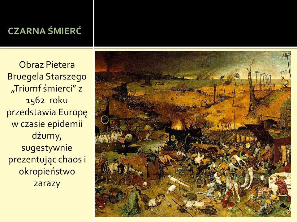 CZARNA ŚMIERĆ Obraz Pietera Bruegela Starszego Triumf śmierci z 1562 roku przedstawia Europę w czasie epidemii dżumy, sugestywnie prezentując chaos i okropieństwo zarazy