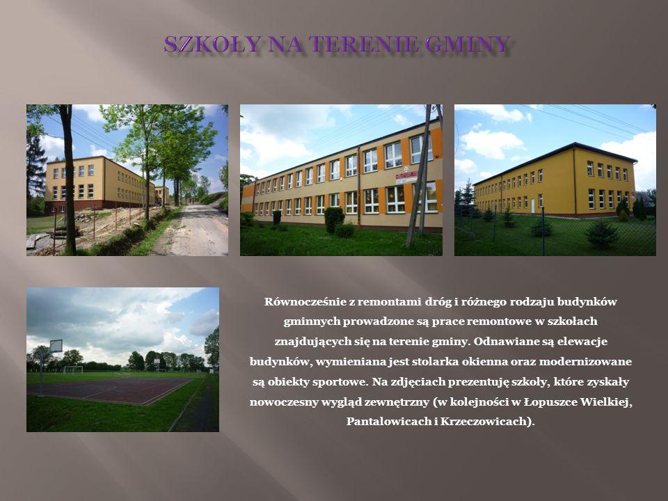 Równocześnie z remontami dróg i różnego rodzaju budynków gminnych prowadzone są prace remontowe w szkołach znajdujących się na terenie gminy. Odnawian