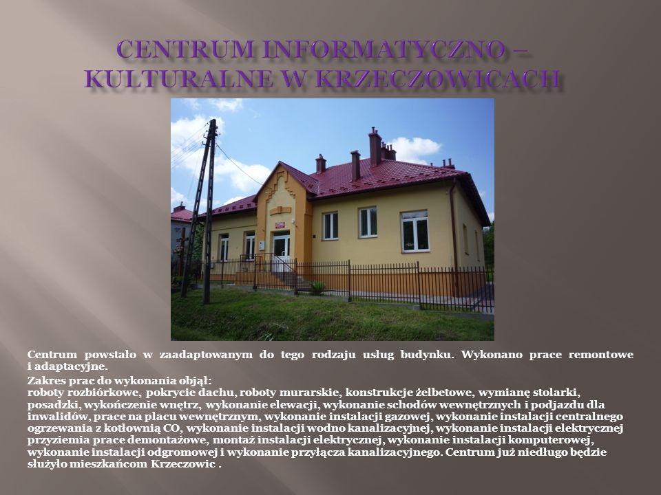 Centrum powstało w zaadaptowanym do tego rodzaju usług budynku. Wykonano prace remontowe i adaptacyjne. Zakres prac do wykonania objął: roboty rozbiór