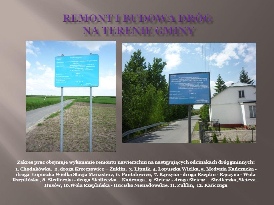 Zakres prac obejmuje wykonanie remontu nawierzchni na następujących odcinakach dróg gminnych: 1. Chodakówka, 2. droga Krzeczowice – Żuklin, 3. Lipnik,