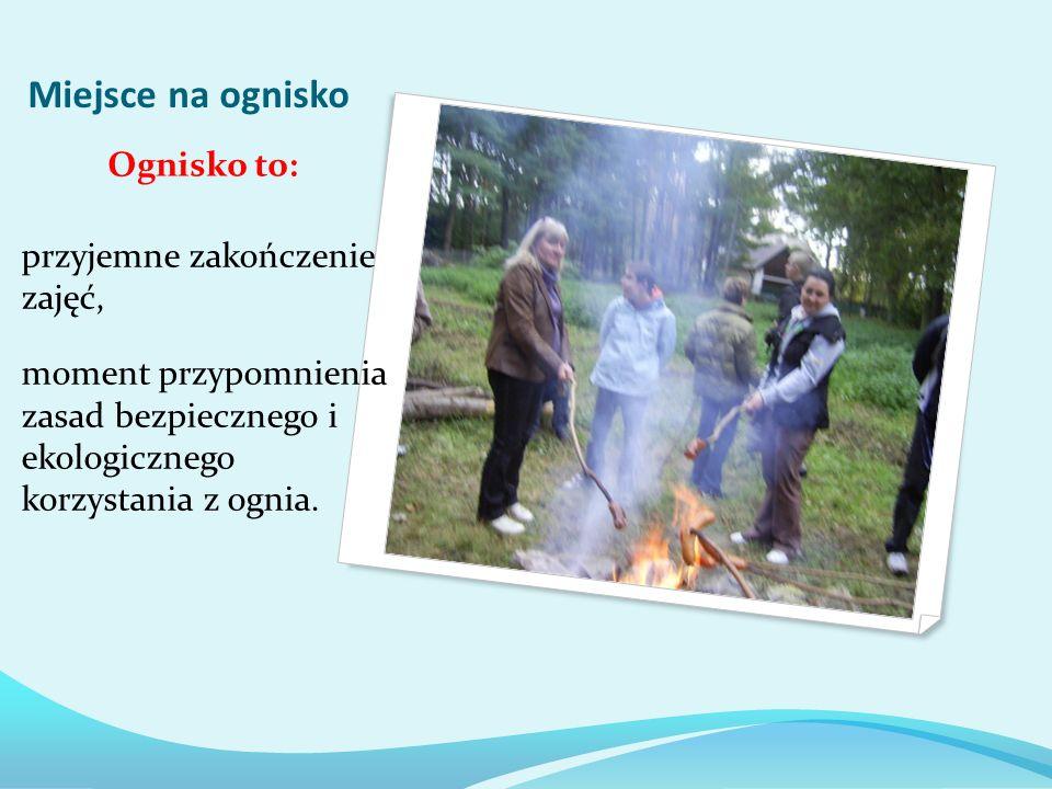 Miejsce na ognisko przyjemne zakończenie zajęć, moment przypomnienia zasad bezpiecznego i ekologicznego korzystania z ognia.