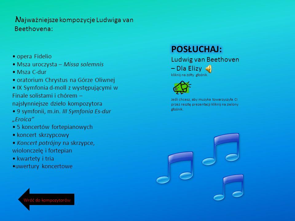 N ajważniejsze kompozycje Ludwiga van Beethovena: opera Fidelio Msza uroczysta – Missa solemnis Msza C-dur oratorium Chrystus na Górze Oliwnej IX Symfonia d-moll z występującymi w Finale solistami i chórem – najsłynniejsze dzieło kompozytora 9 symfonii, m.in.