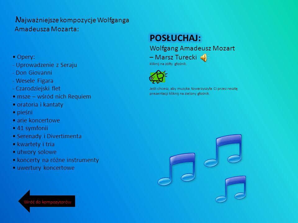 W olfgang Amadeusz Mozart urodził się w 1756 r. w Salzburgu, zmarł w 1791 r. w Wiedniu – był austriackim kompozytorem i muzykiem, razem z Haydnem i Be