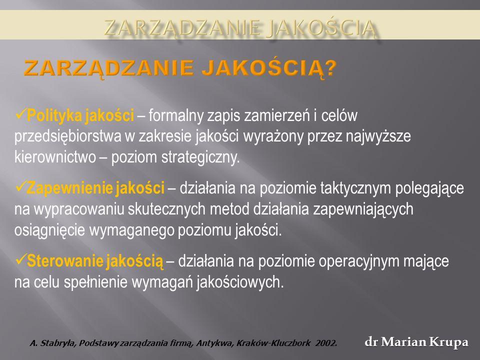 dr Marian Krupa Polityka jakości – formalny zapis zamierzeń i celów przedsiębiorstwa w zakresie jakości wyrażony przez najwyższe kierownictwo – poziom strategiczny.
