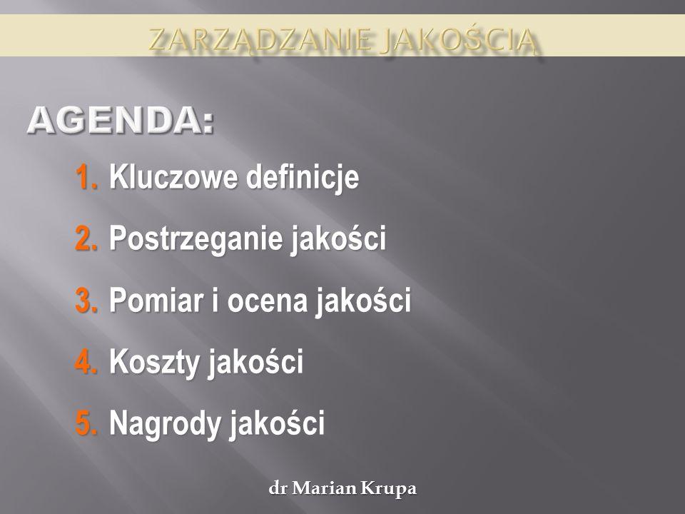 dr Marian Krupa Jakość ma bezpośredni wpływ na rachunek ekonomiczny.