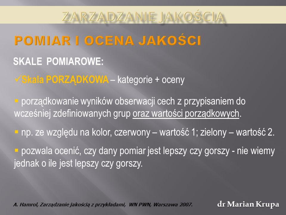 dr Marian Krupa Skala PORZĄDKOWA – kategorie + oceny porządkowanie wyników obserwacji cech z przypisaniem do wcześniej zdefiniowanych grup oraz wartości porządkowych.