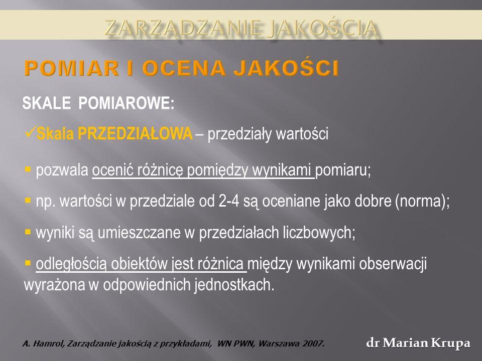 dr Marian Krupa Skala PRZEDZIAŁOWA – przedziały wartości pozwala ocenić różnicę pomiędzy wynikami pomiaru; np.