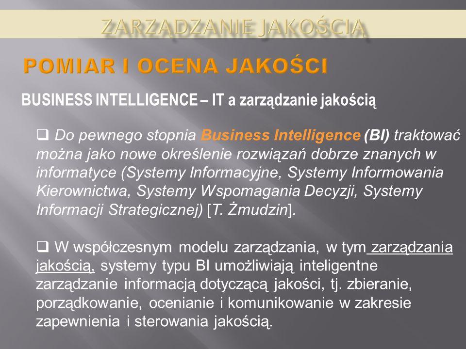 BUSINESS INTELLIGENCE – IT a zarządzanie jakością Do pewnego stopnia Business Intelligence (BI) traktować można jako nowe określenie rozwiązań dobrze znanych w informatyce (Systemy Informacyjne, Systemy Informowania Kierownictwa, Systemy Wspomagania Decyzji, Systemy Informacji Strategicznej) [T.